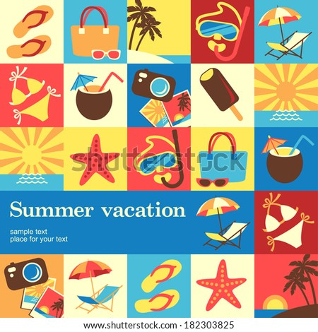 Summer vacation design template card. Vector background