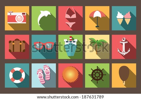 Summer vacation flat icons with long shadow, design elements, vector illustration - stock vector