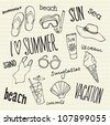 Summer vacation holiday icons and words vector - stock