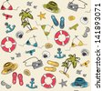 Summer vacation holiday seamless pattern with marine icons - stock vector