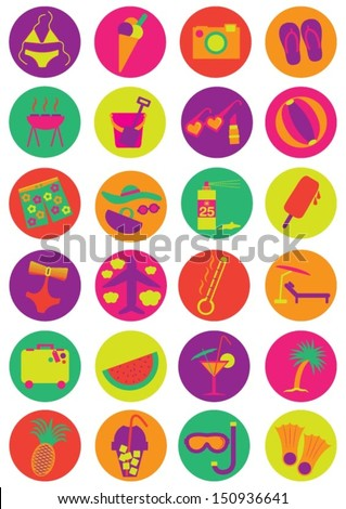 Summer Vacation Icons - stock vector
