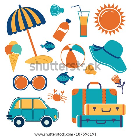 Summer vacation icons colorful set - stock vector