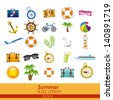 summer vacation icons over orange background vector illustration - stock vector