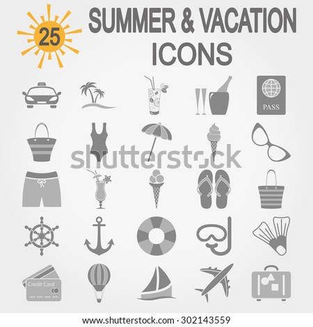Summer & vacation icons set for web and mobile application. Vector illustration on a white background. - stock vector
