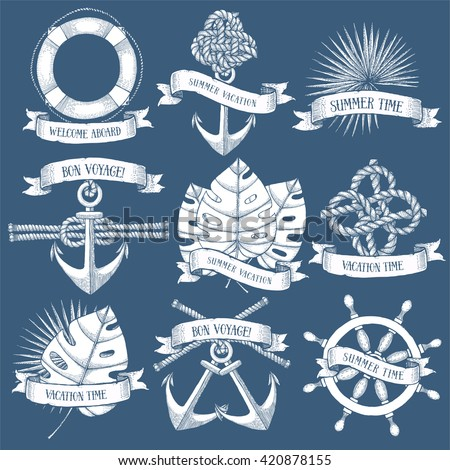 Summer vacation icons, vector engraved set - stock vector
