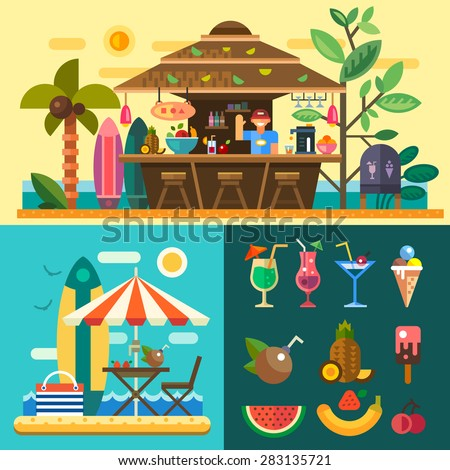 Summer vacation in a tropical country. Relaxing at the beach, cafe-bar bungalows on the ocean coast. Vector flat illustration - stock vector