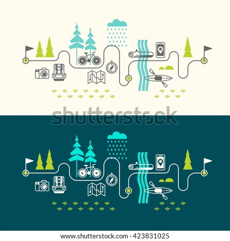 Summer vacation in nature. Vector concept illustrations with icons of travel and vacation. - stock vector