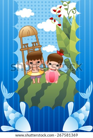 Summer Vacation - lovely girl and cute boy have fun with rubber ring and pink beach ball in country on bright blue background of sky and white clouds with dot and stripe pattern : vector illustration - stock vector