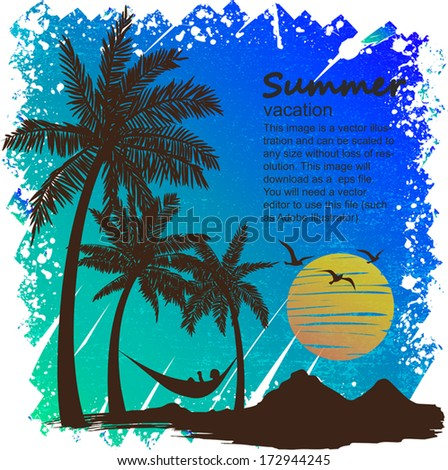 summer vacation on tropical beach Sunset,  with Palm trees  - stock vector
