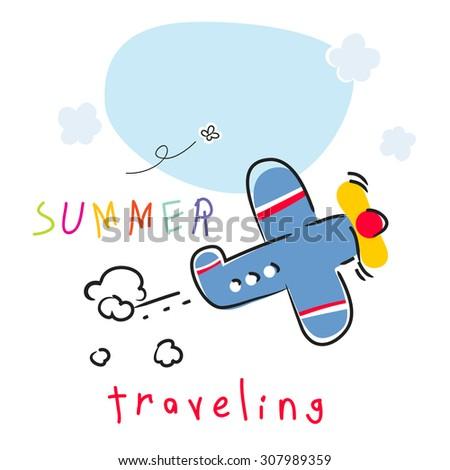 Summer vacation plane travel vector illustration.  - stock vector
