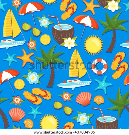 Summer vacation seamless pattern with yacht lifebuoy palm coconut flowers flipflops umbrella on blue background vector illustration - stock vector