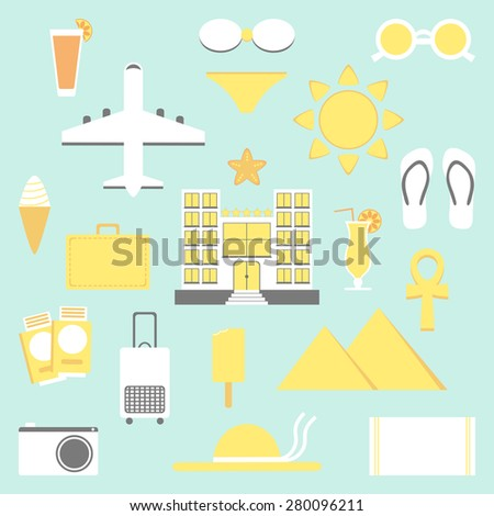 Summer vacation set. Vacation isolated elements. Hotel, plane, ice cream, bags, bikini and other icons. Flat style vector illustration.