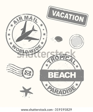 Summer vacation stamps set, vector