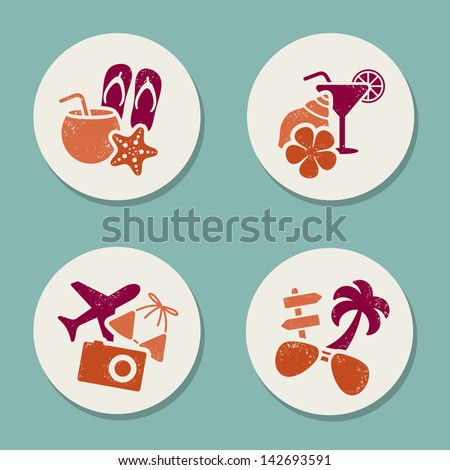 Summer vacation stickers - stock vector