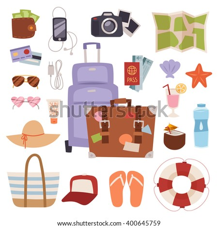 Summer vacation symbols holiday tourism and summer vacation bag trip symbols. Vacation concept tropical suitcase. Summer vacation symbols beach travel holiday tourism set flat vector illustration.