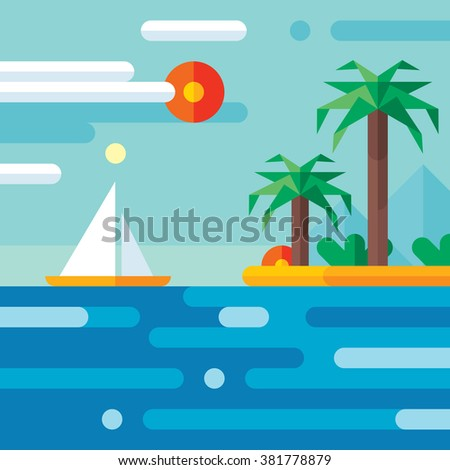 Summer vacation travel - vector concept illustration in flat style design. Holiday paradise art. Seascape nature. Sea, island, sun, palm, beach, sailboat.  - stock vector