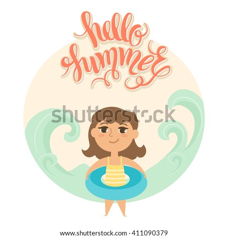 """Summer vacation. Vector illustration of kid on the beach isolated. Girl with rubber ring near the sea. Cartoon character of young people. Hand drawn lettering """"Hello summer"""". - stock vector"""