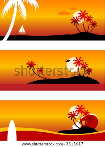 Summer Vacation-Vector landscape (top-bottom): cruising in a yacht, airplane over an island, surfboard and a huge wave. - stock vector