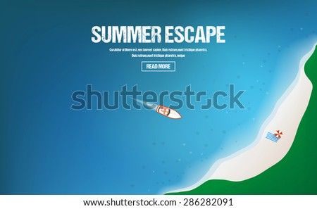 Summer vacations, holidays and tourism concept. Top view perspective with yachts. Vector - stock vector