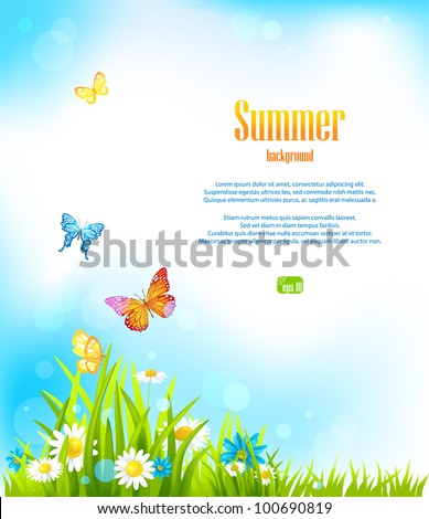 Summer vector background with space for text - stock vector