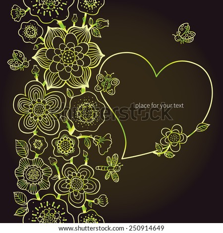 Summer vector border with butterfly and frame in the shape of heart. Line art floral decor. Green outline frieze. Decorative element for design. Lace pattern for invitations, greeting cards. - stock vector