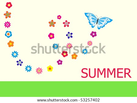 Summer vector card with butterfly and flowers - stock vector