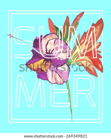 Summer, vector floral artwork for girls t-shirt - stock vector