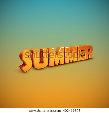Summer. vector illustration of 3d Summer sign.