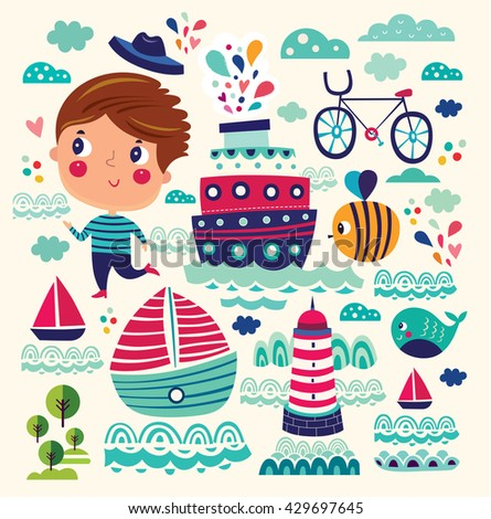 Summer vector illustration with boy, ships, bee, bicycle, lighthouse, whale - stock vector