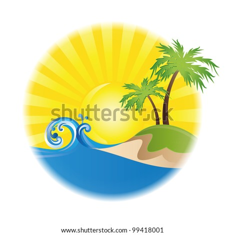 summer vector logo on white background isolated - stock vector
