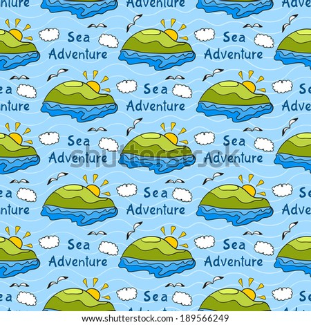 Summer vector seamless pattern with bright images of island, sea adventure, travel background - stock vector