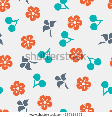 Summer vector seamless pattern with cherry, flower and leaf. - stock vector