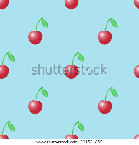 Summer vector seamless pattern with red cherries on the light blue background. - stock vector