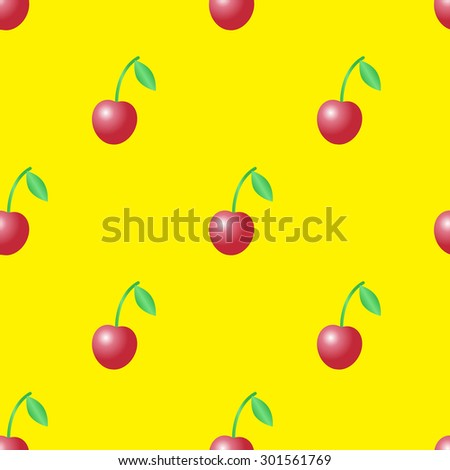 Summer vector seamless pattern with red cherries on the yellow background. - stock vector