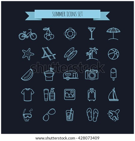 summer vector  thin line icons set on a black background for your design - stock vector