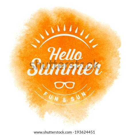 Summer vector typography. Summer holidays message for your design watercolor vector poster or background.  - stock vector