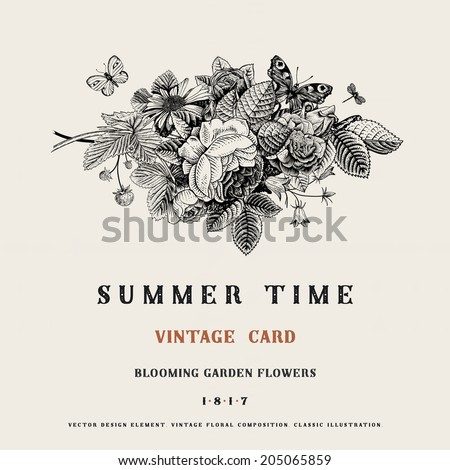 Summer vector vintage card with black and white floral bouquet of garden roses, strawberries, bells. Illustration, ink, pen. - stock vector