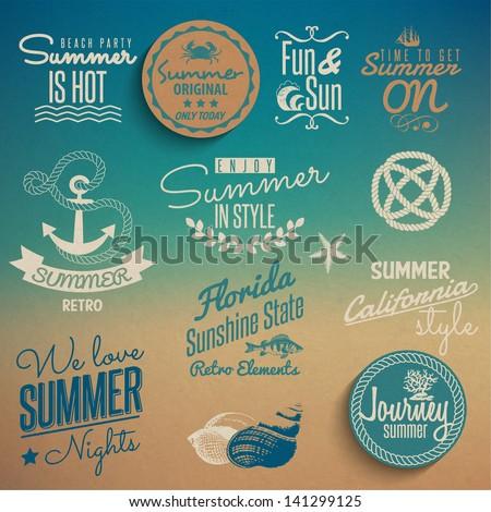 Summer vintage elements - stock vector