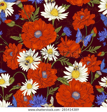 Summer Vintage Floral Seamless Pattern with Blooming Red Poppies Chamomile Ladybird and Daisies Cornflowers Bumblebee  Bee and Blue Butterflies. Vector Illustration on Dark Brown Background - stock vector