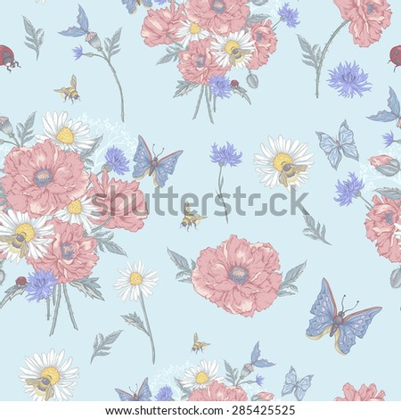 Summer Vintage Floral Seamless Pattern with Blooming Red Poppies Chamomile Ladybird and Daisies Cornflowers Bumblebee  Bee and Blue Butterflies. Vector Shabby Illustration  - stock vector