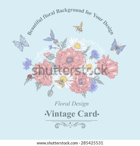 Summer Vintage Greeting Card with Blooming Red Poppies Chamomile Ladybird Daisies Cornflowers Bumblebee Bee and Blue Butterflies. Vector Shabby Illustration  - stock vector