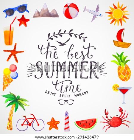 Summer watercolor lettering - stock vector