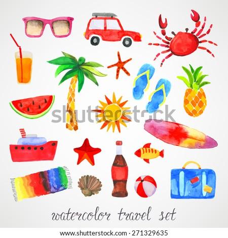 Summer watercolor set - stock vector