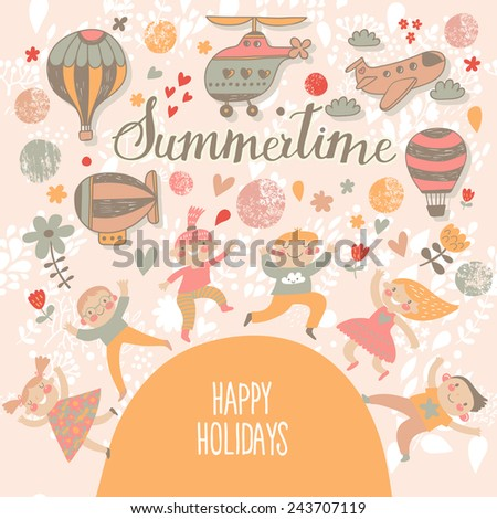 Summertime concept card. Travel concept background. Group of kids playing. Six funny kids in cartoon style. Bright childish card in vector. Cute kids jumping and having fun. Happy holidays background - stock vector