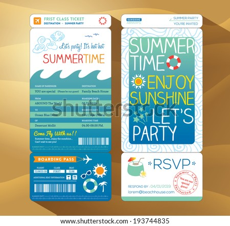 summertime holiday party boarding pass background vector template for summer card - stock vector