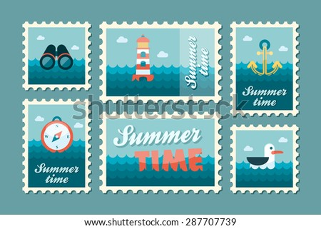 Summertime marine stamp set flat - stock vector