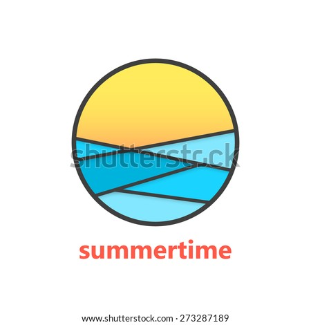 summertime sign with waves and sunset. concept of marine, surfing, surface, exotic, rest, horizon, visual identity. isolated on white background. flat style modern brand design vector illustration - stock vector