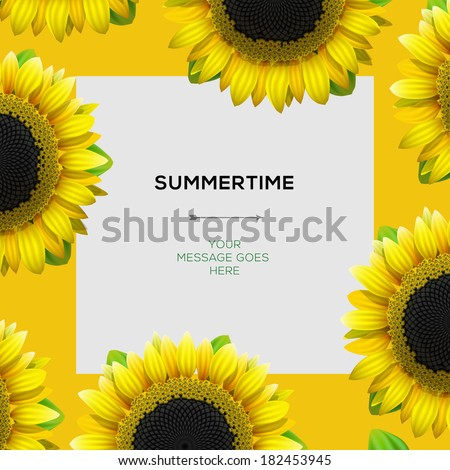 Summertime template with sunflowers background, vector illustration.  - stock vector