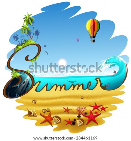 Summertime traveling background for holidays and  vacations. - stock vector