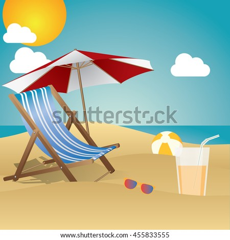 Summertime traveling template with beach summer accessories - stock vector